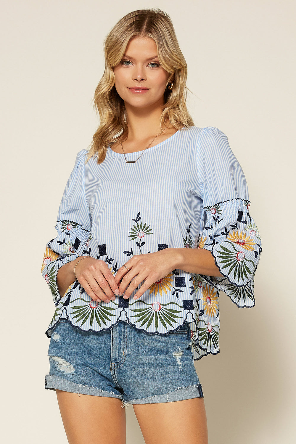 Floral Embroidery Bell Sleeve Top