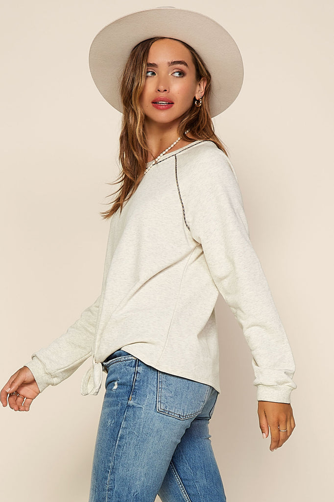 Knit Contrast Tie Front Top