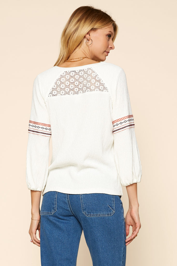 Split Neck Embroidered Top