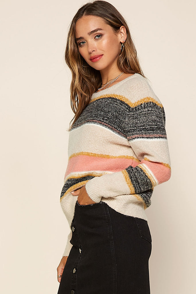 Marbled Color Block Sweater