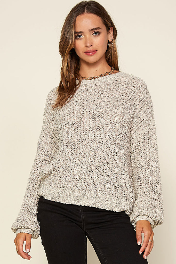 Balloon Sleeve Pullover Sweater