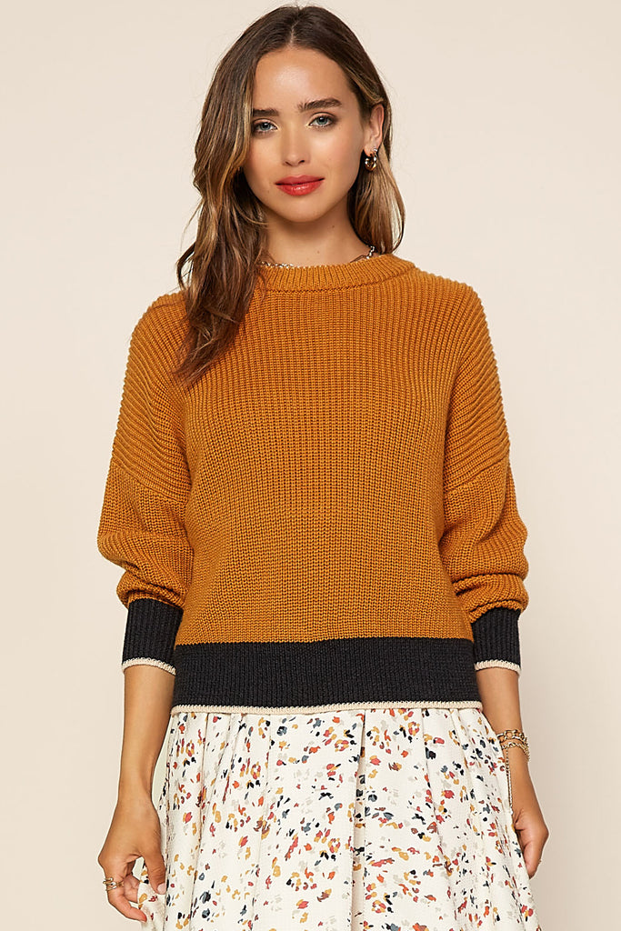 Contrast Hem Sweater Top