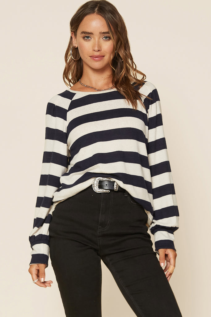 Striped Basic Knit Top