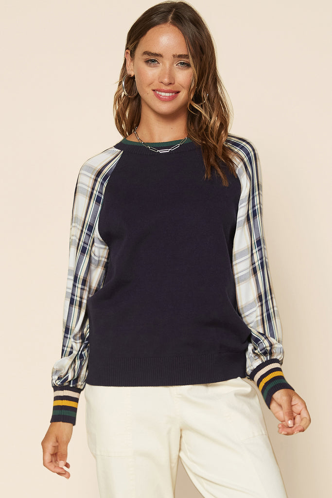 Mixed Media Plaid Sleeve Sweater