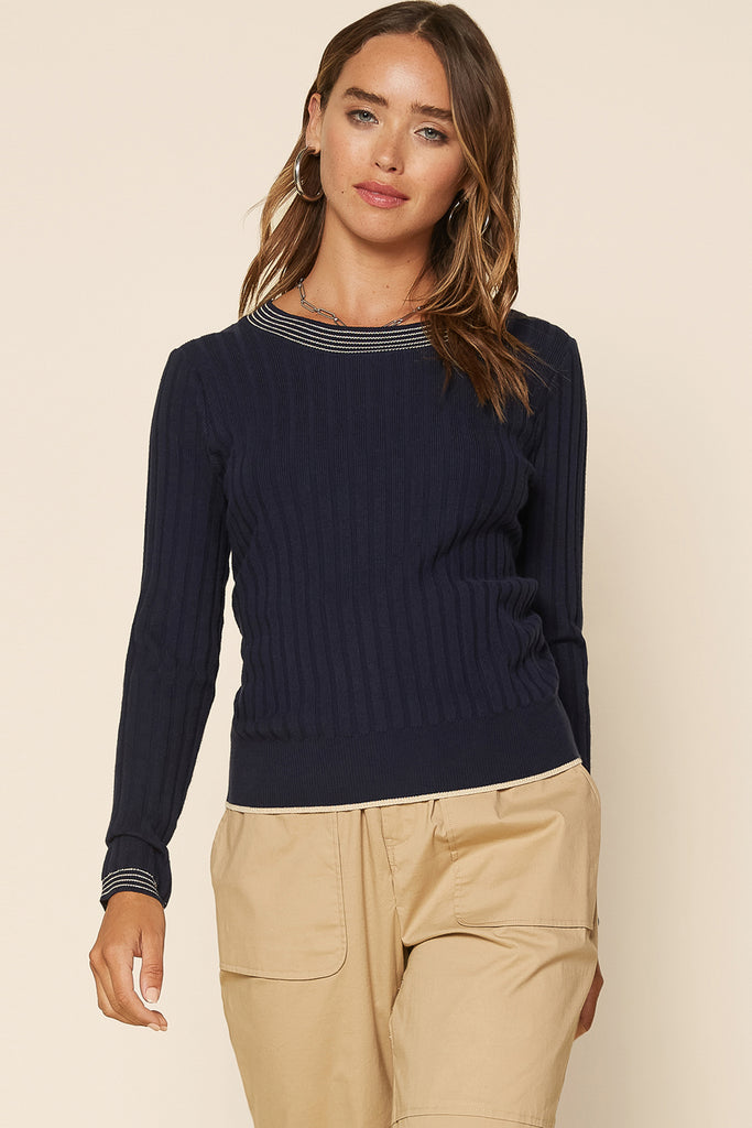 Metal Rib Contrast Knit Sweater