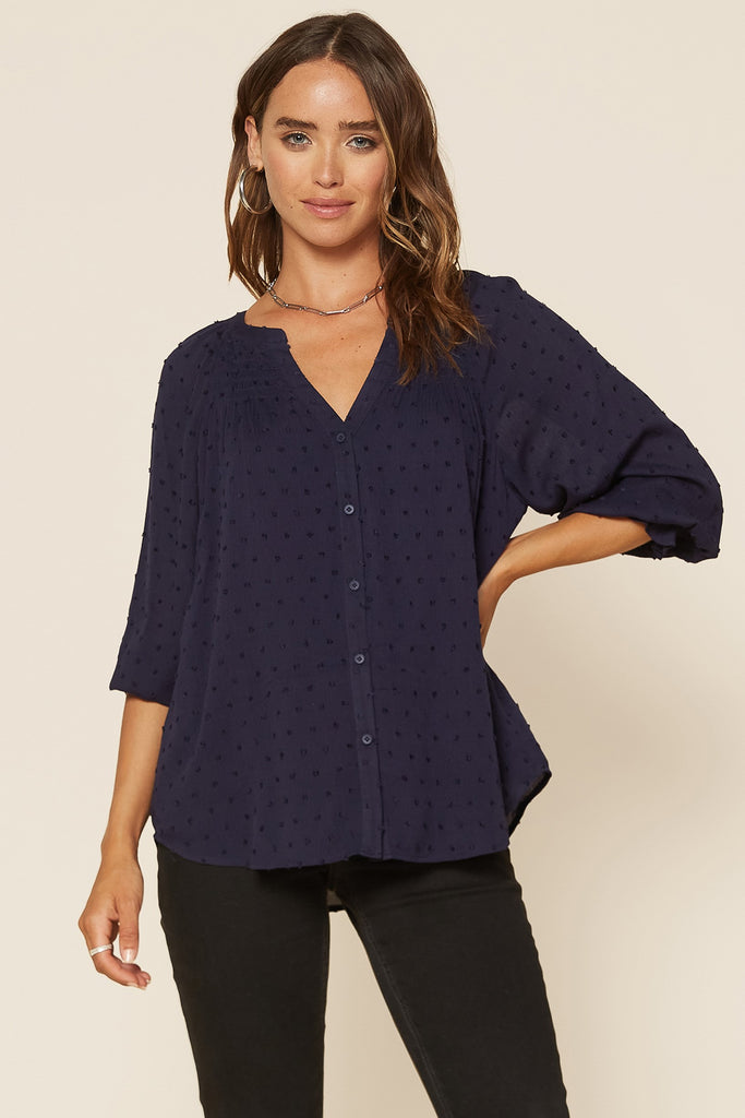 Swiss Dot Textured Blouse