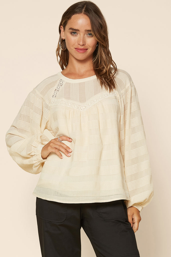 Lace Yoke Textured Top