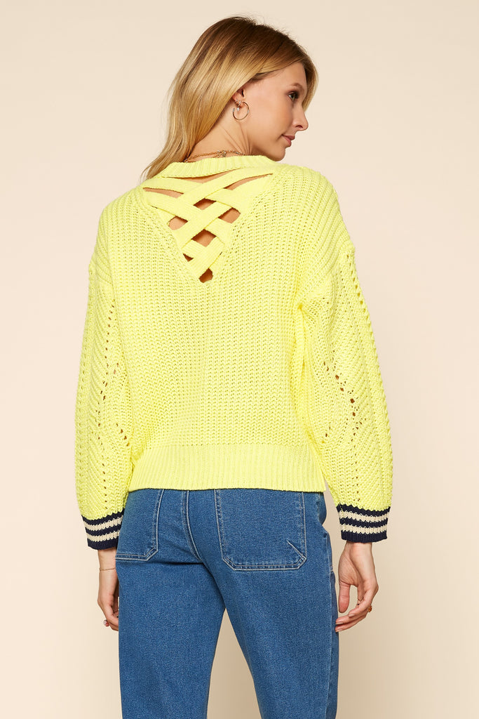 Lime Criss Cross Back Sweater