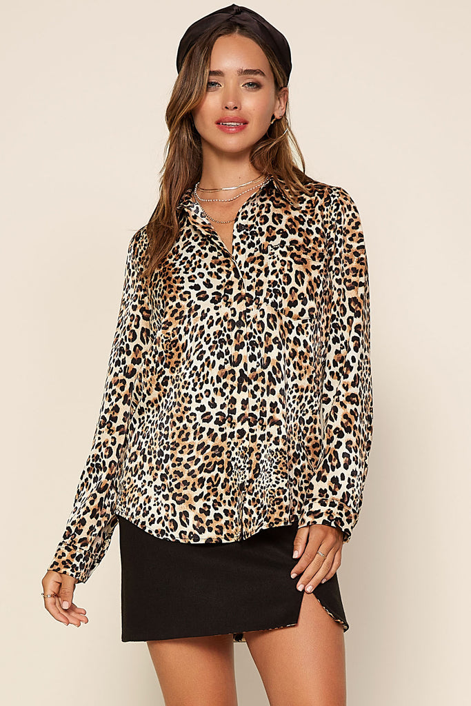 Leopard Print Button Down Shirt