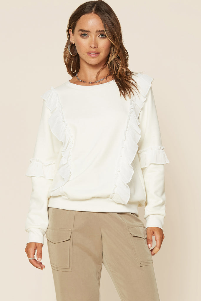 Ruffle Detailed Crewneck Sweatshirt