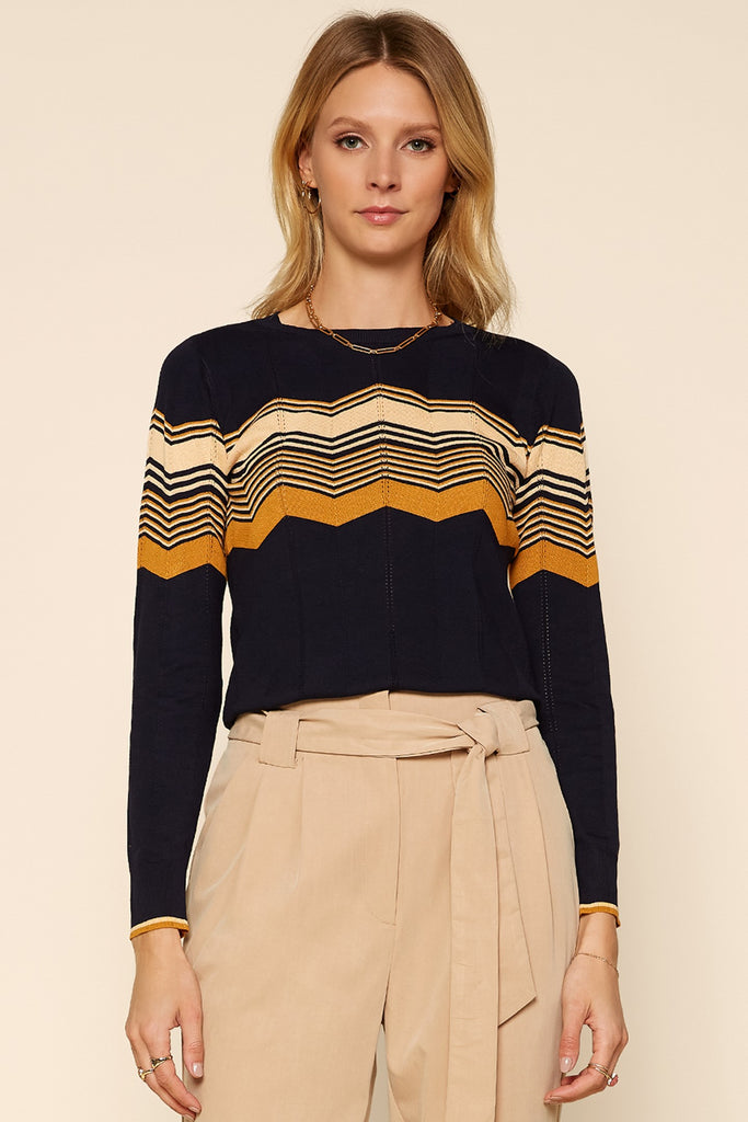 Chevron Pattern Knit Pullover