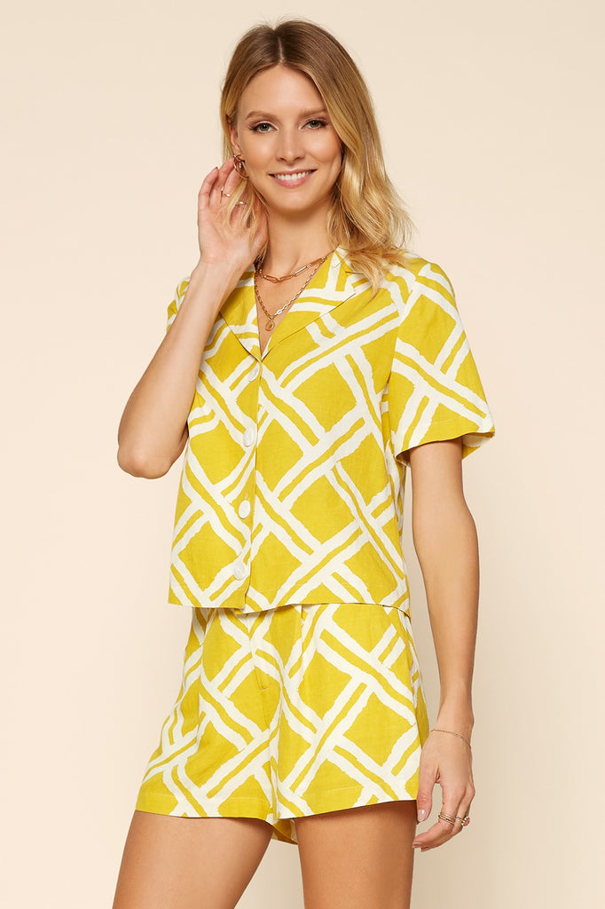 Marigold Geo Pattern Top