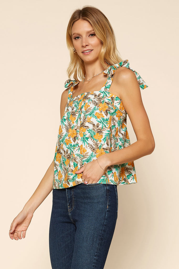 Tropical Tie Shoulder Top