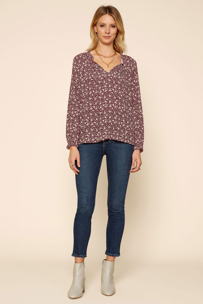 Ruby Floral Tie Neck Top