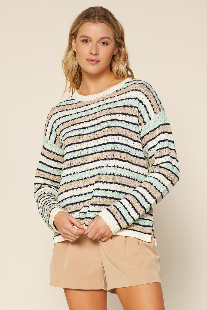 MINT Stripe Pointelle Sweater
