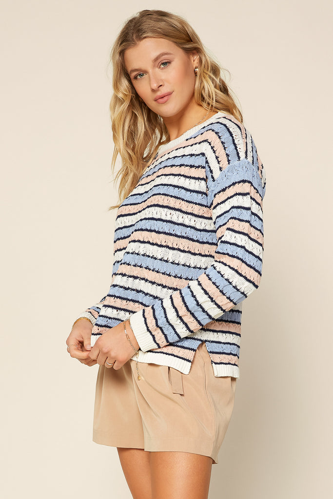 BLUE Stripe Pointelle Sweater