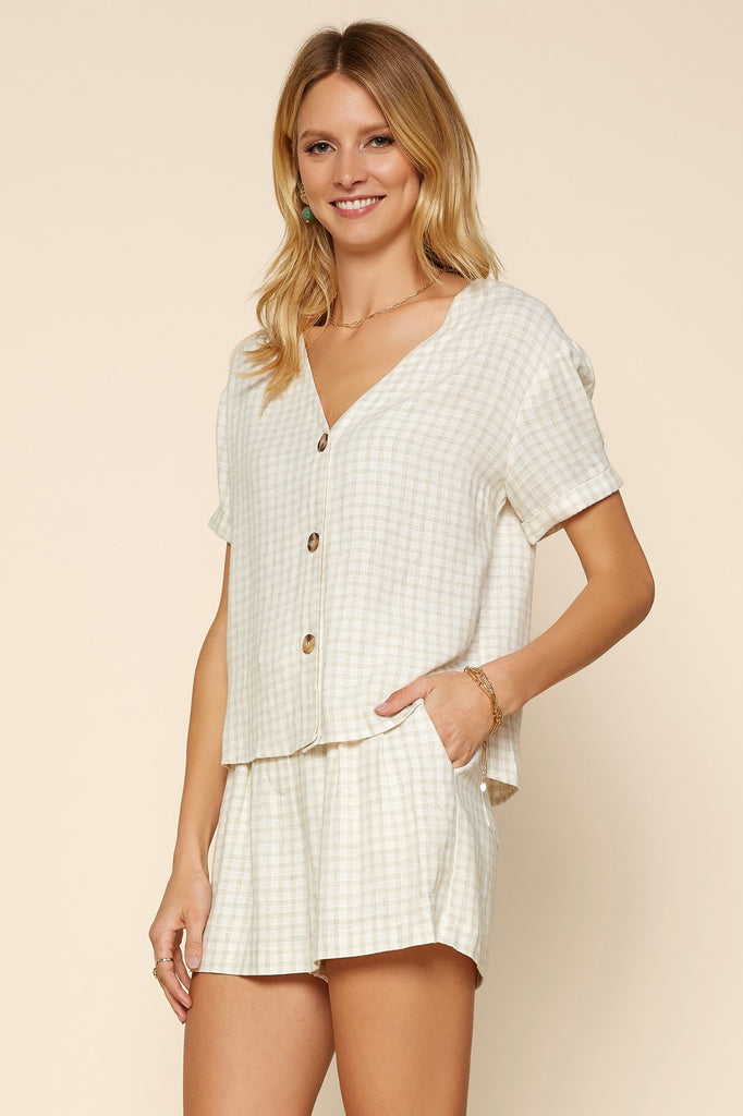 Gingham Button Down Top