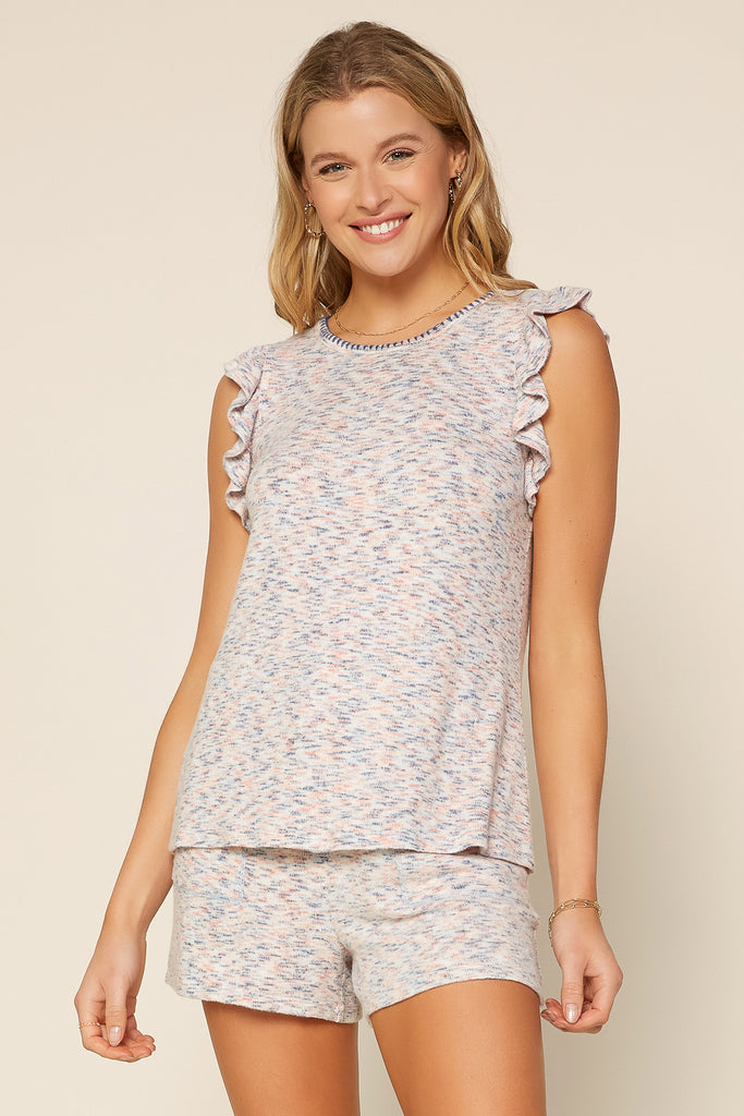 Ruffled Speckled Knit Top