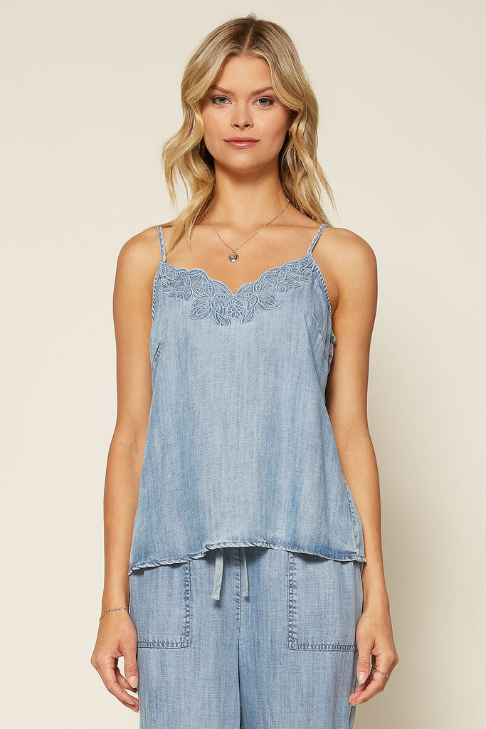 EMBROIDERED CHAMBRAY TANK TOP