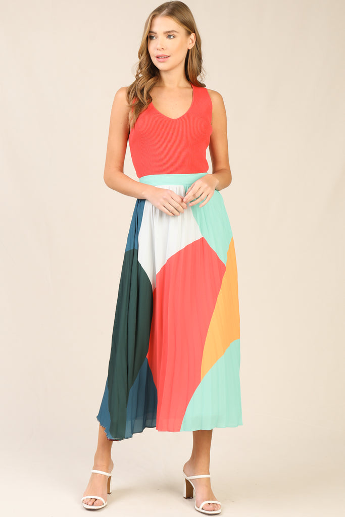 Multi Color Pleated Skirt