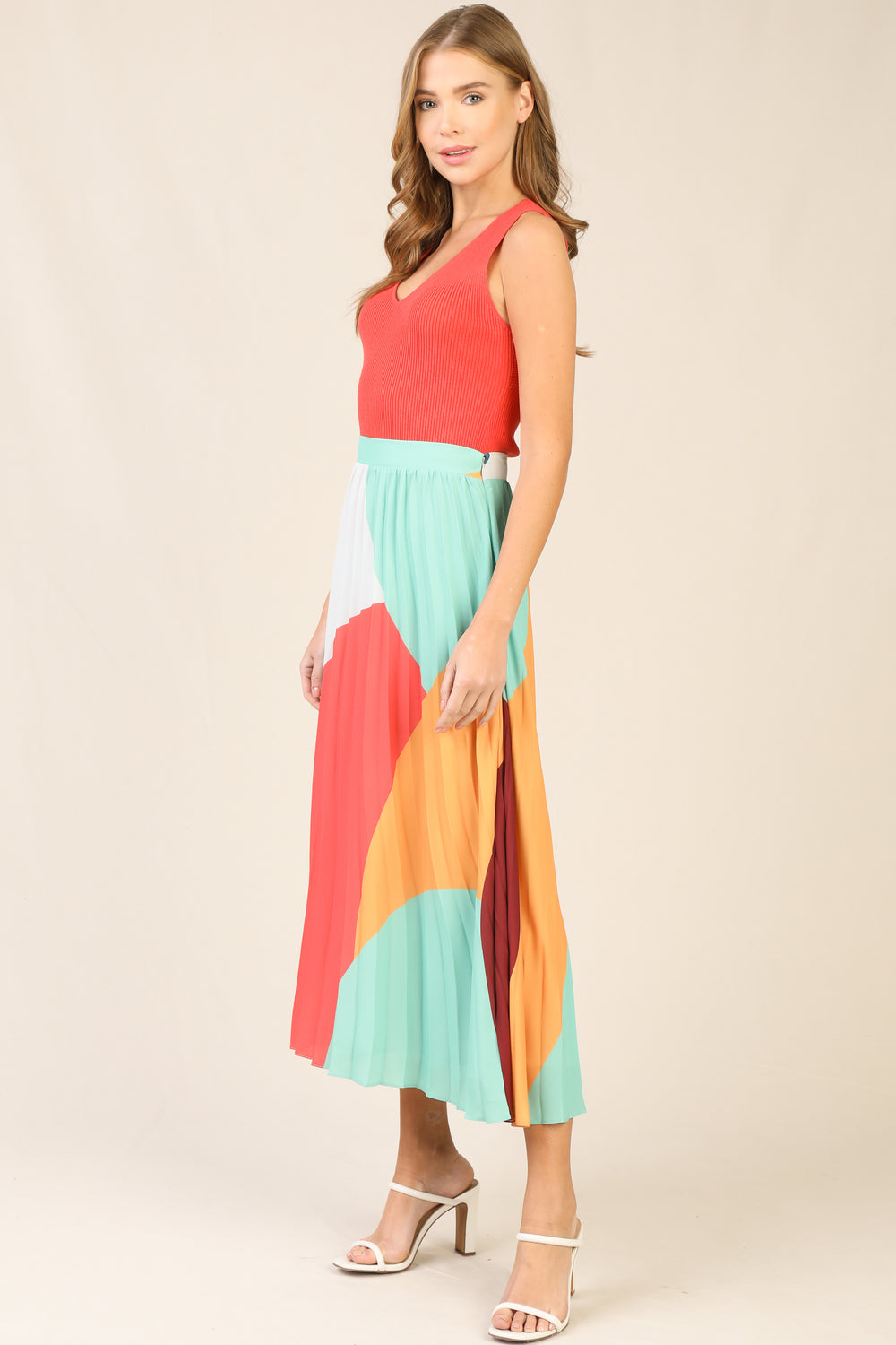Multi Colored Pleated Midi Skirt