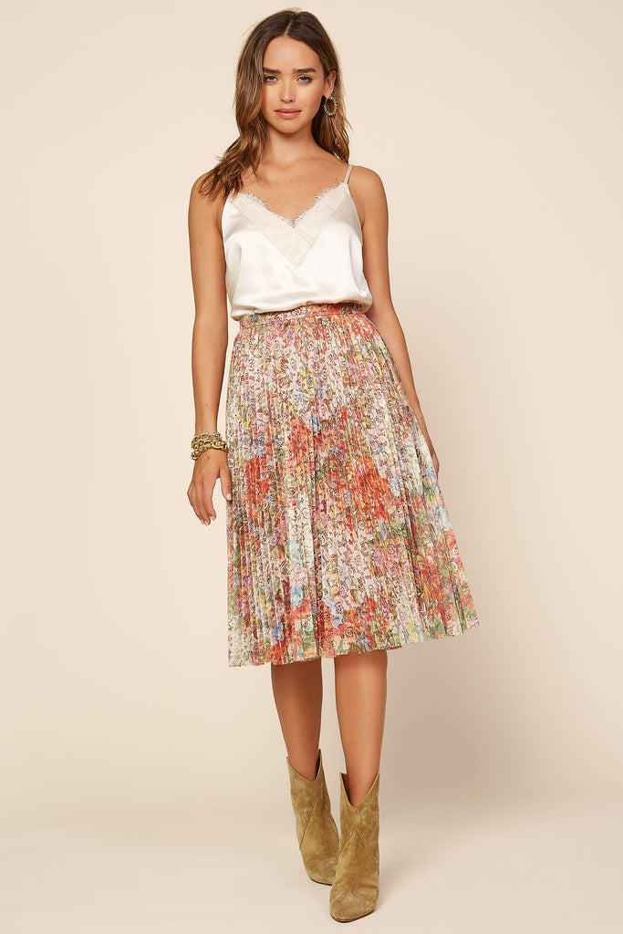 Foil Floral Print Lace Pleated Skirt
