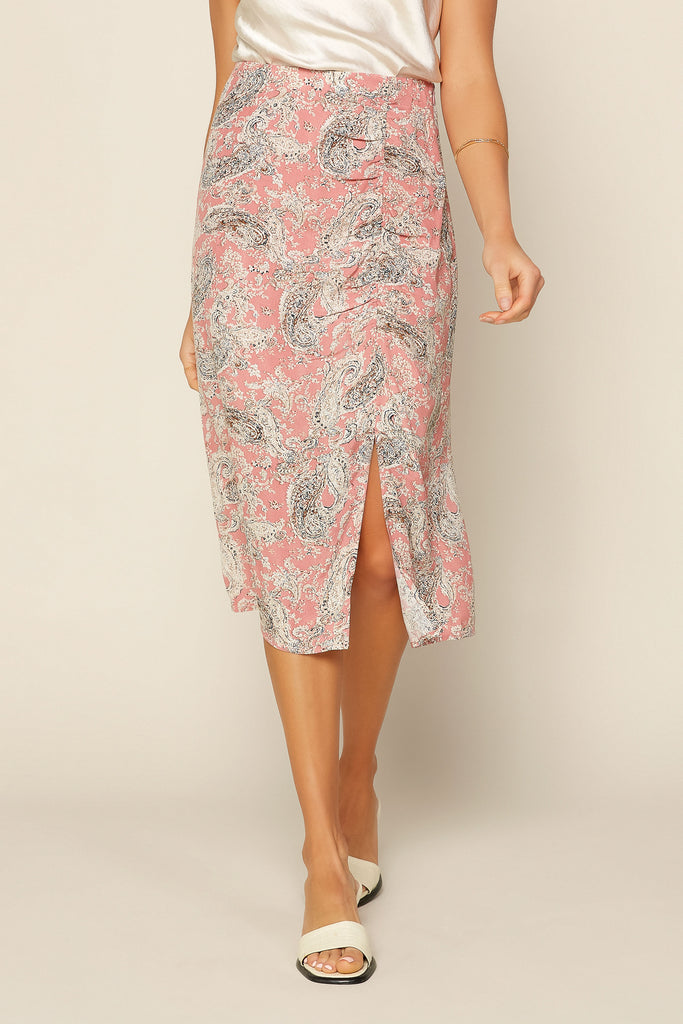 Pink Paisley Ruched Skirt