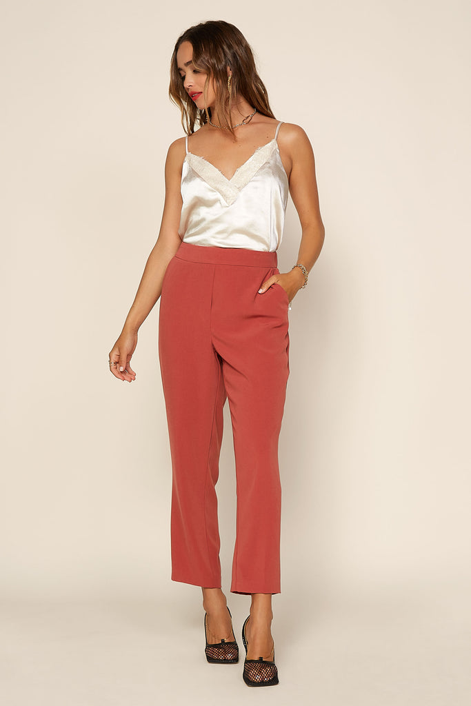 Elastic Back Trouser Pants
