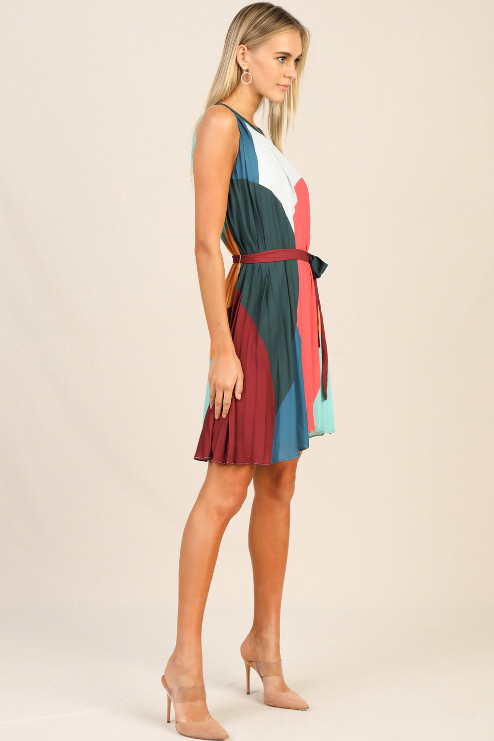 Multi Colored Halter Mini Dress