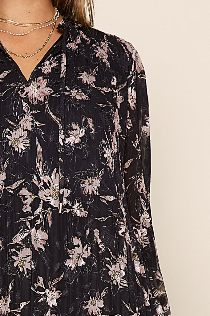 Vintage Floral Print Shift Dress
