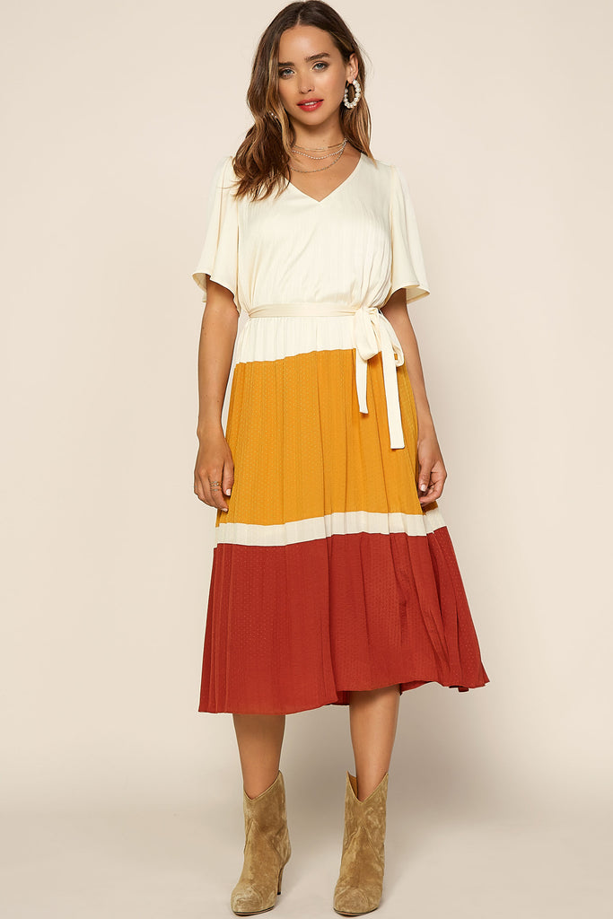 Color Block Pleated Midi Dress