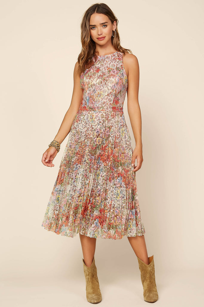 Foil Floral Print Lace Pleated Dress