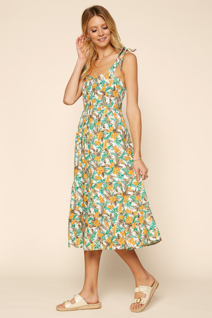 TROPICAL Tie Shoulder Dress