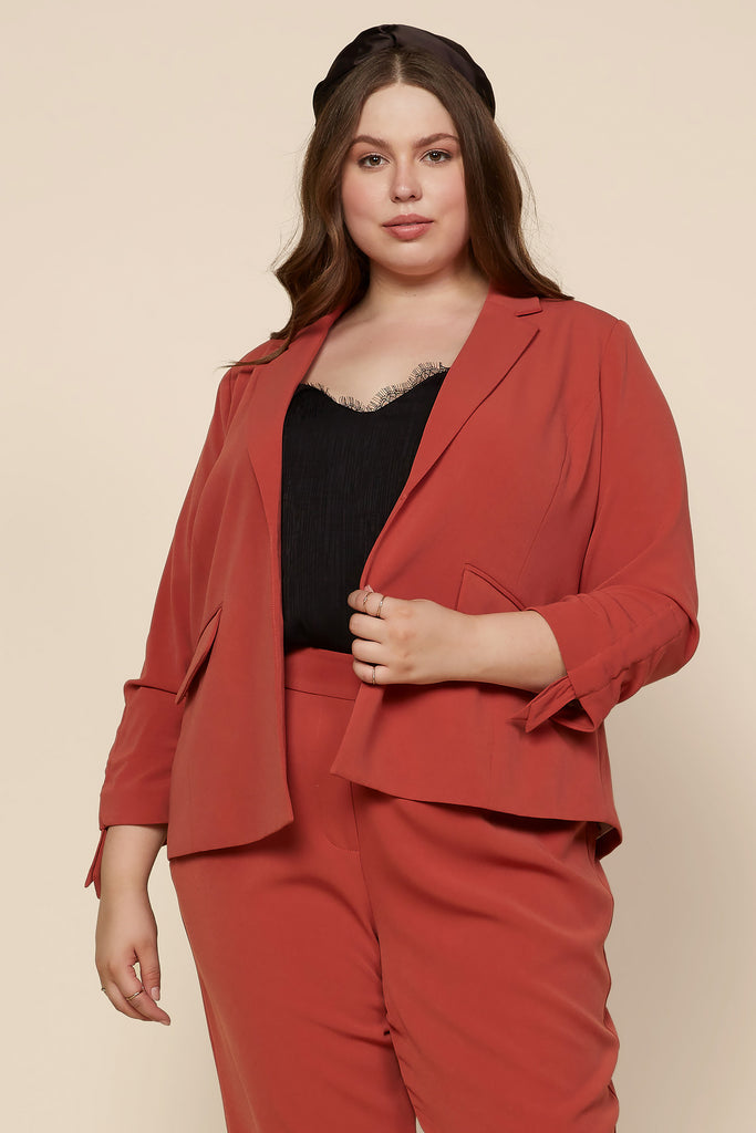 Plus Size - Ruched Tie Sleeve Blazer