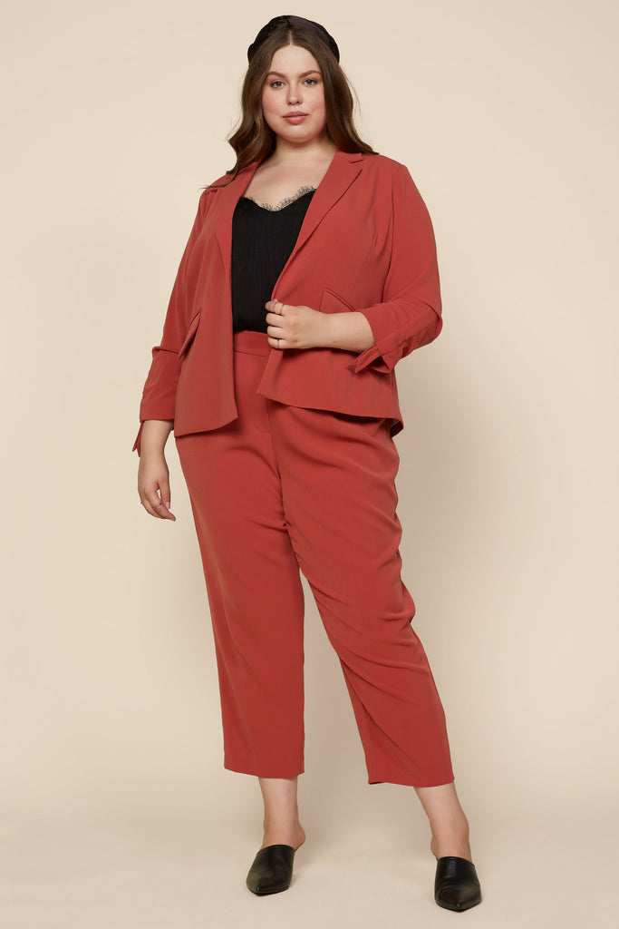 Plus Size - Elastic Back Trouser Pants