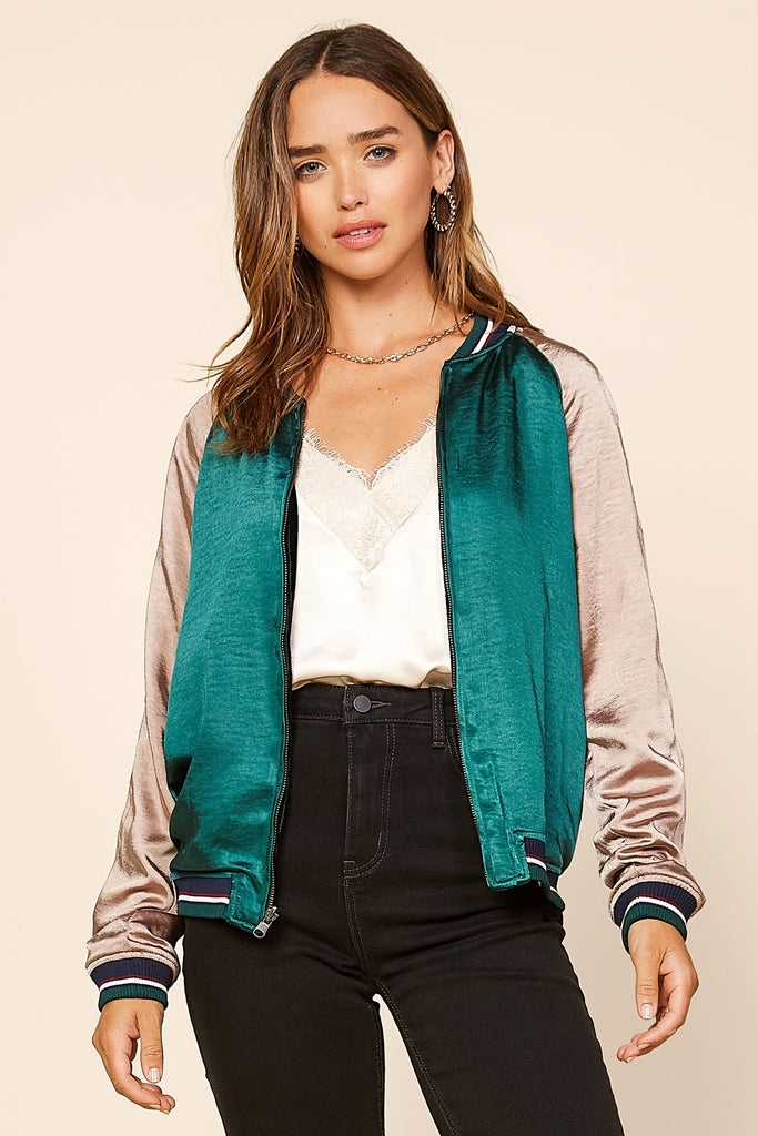 Reversible Velvet Satin Bomber Jacket