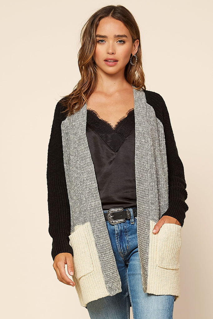 Color Block Pullover Cardigan