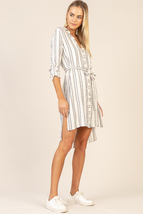 Waist Band Shirt Dress
