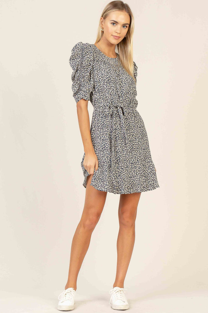Ditsy Floral Puff Sleeve Mini Dress