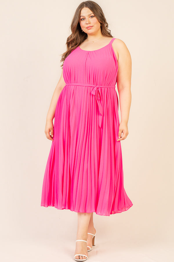 Plus Size - Neon Pleated Midi Dress