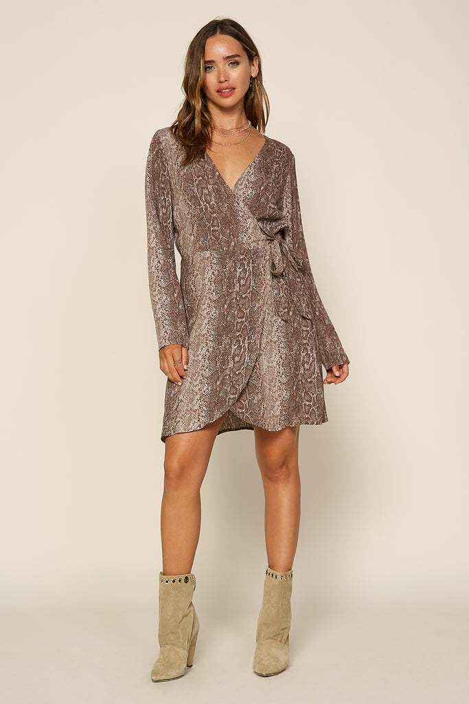 Python Wrap Mini Dress