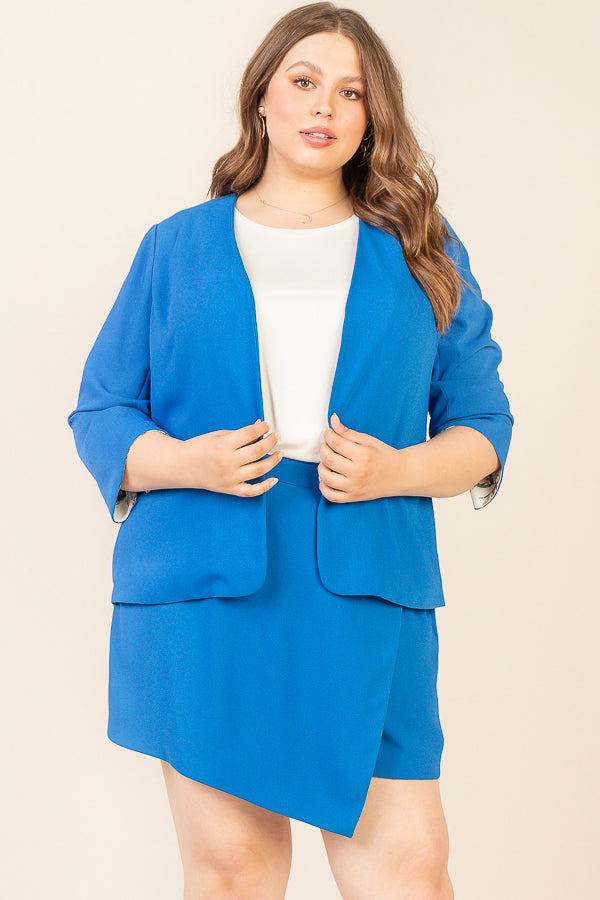 Plus Size - Collarless Printed Lining Blazer