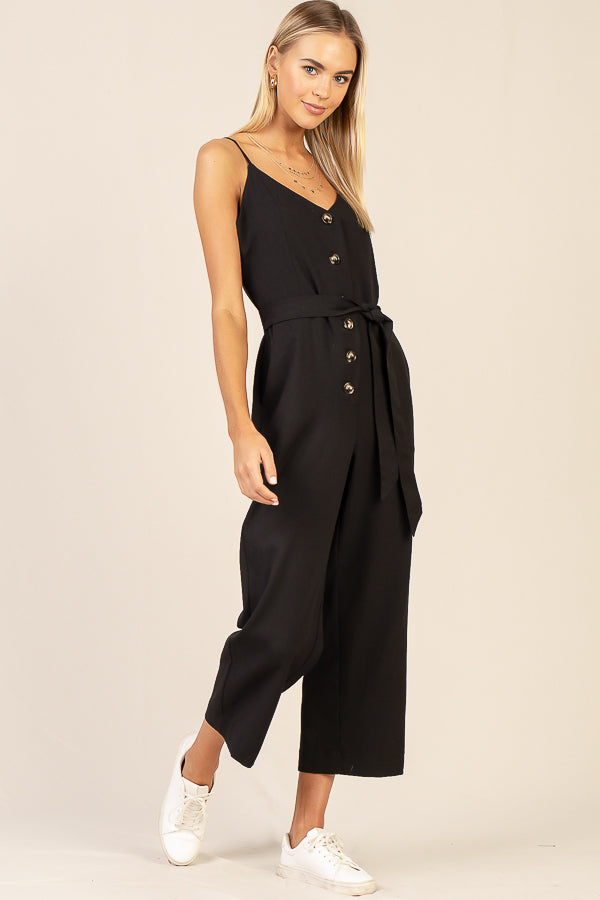 Button Down Basic Jumpsuit