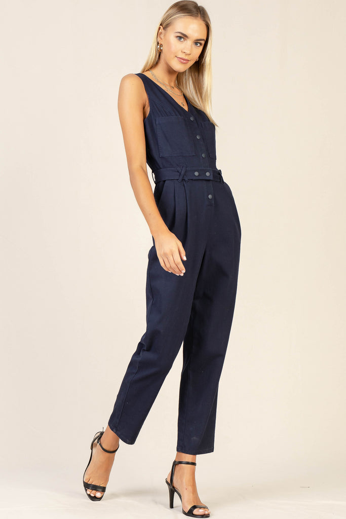 Sleeveless Cotton Utility Jumpsuit