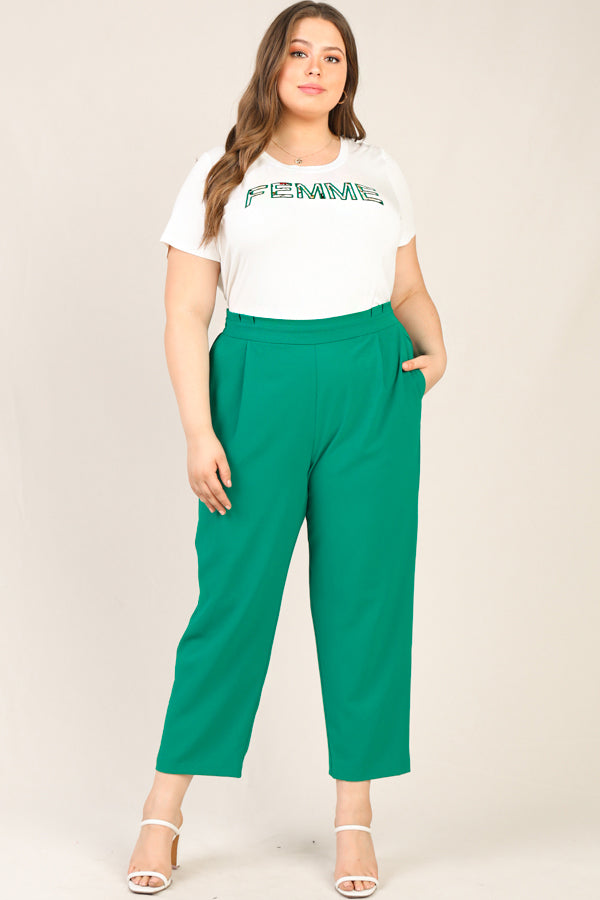 Plus Size- Elastic Back Trousers