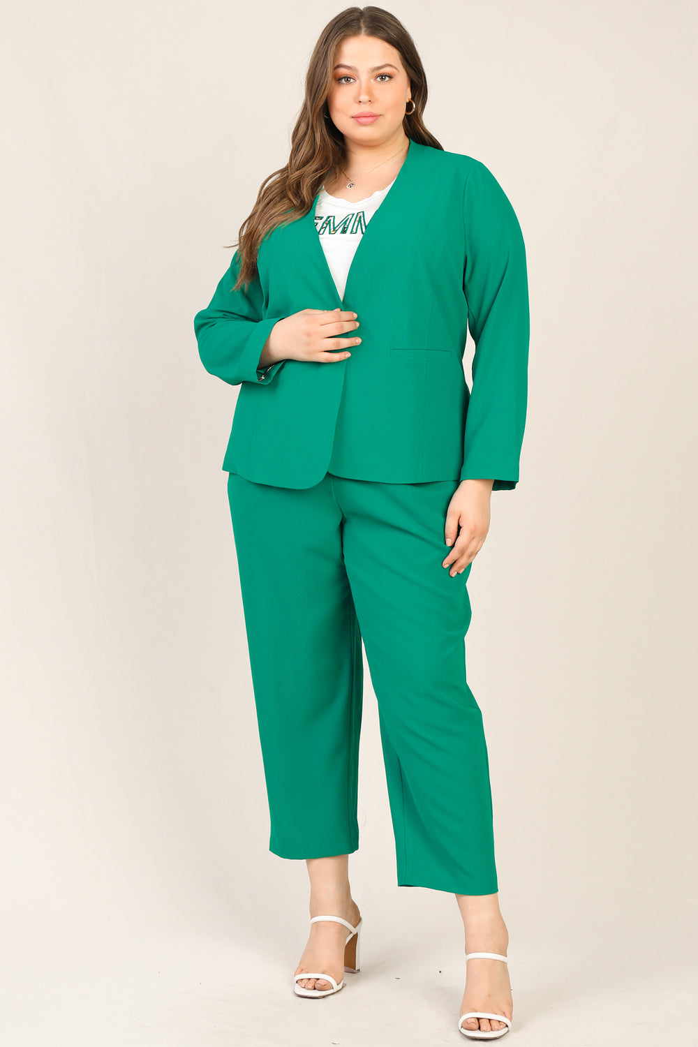 Plus Size- Collarless Blazer Jacket