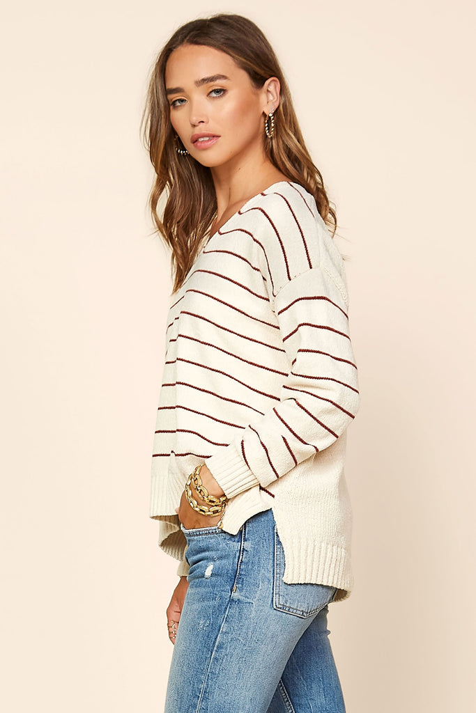 High-Low Stripe Pullover