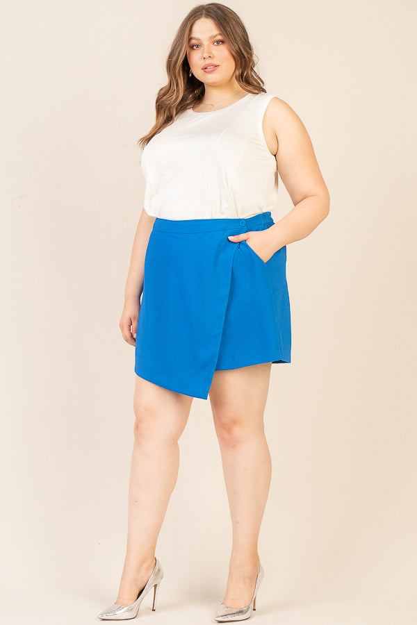 Plus Size - Asymmetrical Mini Skort