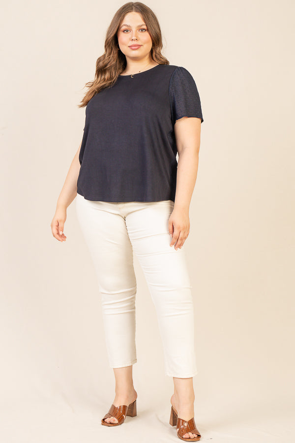 Plus Size - Swiss Dot Jersey Top