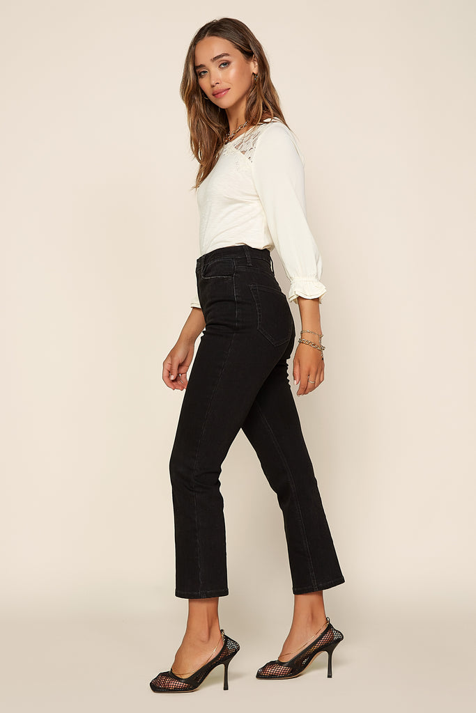 Cuffed Black Denim Jeans